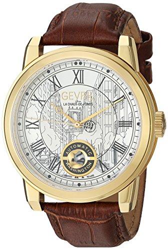 Gevril Washington Men's Swiss Automatic Brown Leather Strap Watch, (Model: 2622L)