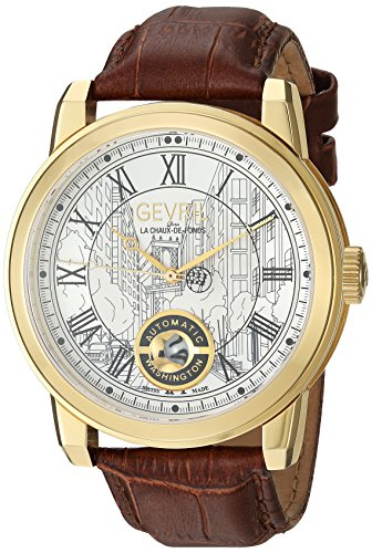 Gevril-Mens-Washington-Swiss-Automatic-Gold-Tone-and-Leather-Casual-Watch-ColorBrown-Model-2622L