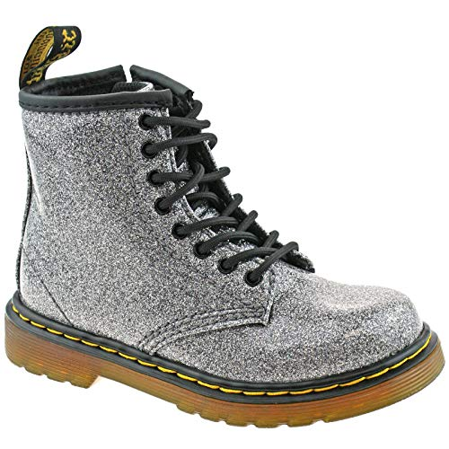 Dr. Martens Kid's Collection Womens 1460 Patent Glitter Toddler Brooklee Boot (7 M UK, Gunmetal Coated Glitter) ()