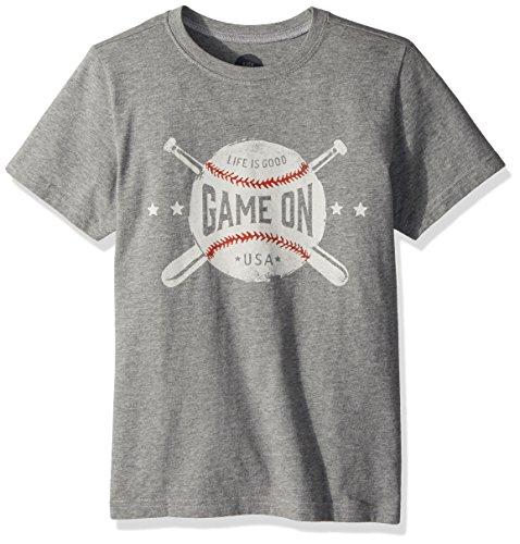Life is Good Boy's Crusher Game on Baseball, Heather Gray, Medium Life Is Good Baseball T-shirt