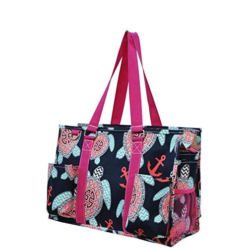 - Ocean Themed Prints NGIL Large Travel Caddy Organizer Tote Bag (Sea Turtle W/ Anchors)