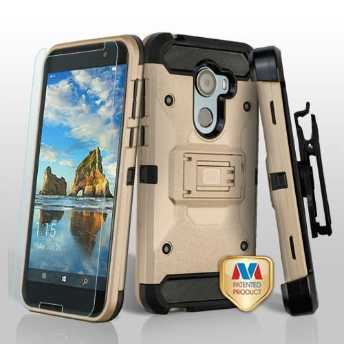 Mybat 3-in-1 Kinetic Dual Layer [Shock Absorbing] Protection Hybrid Stand PC/TPU Rubber Holster Case w/Bundled For Alcatel A30 Fierce (2017)/A30 Plus/Revvl (T-Mobile)/Revvl 5049W/Walters, Gold/Black - Hybrid Nipple