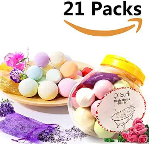 QQcute Bath Bombs Gift Set 21 Packs, 18 Family Spa Vegan Lush Fizzies with Natural Essential Oils,3 Flower Pental Bags, Moisturize Dry Skin,Add to Bubble Bath,Basket,Bath Beads