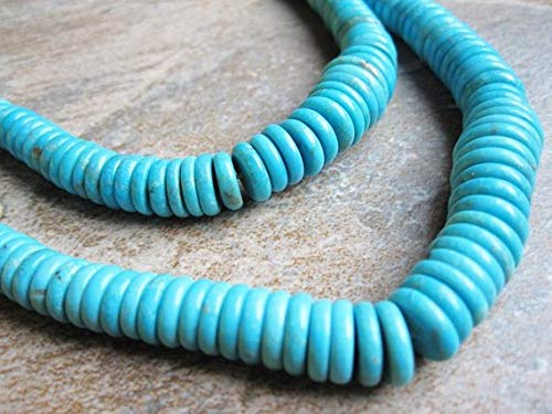 Graduated Turquoise Disc - JP_BEADS Turquoise Beads, Graduated Discs, Blue Turquoise 8 inch Strand 4-12mm