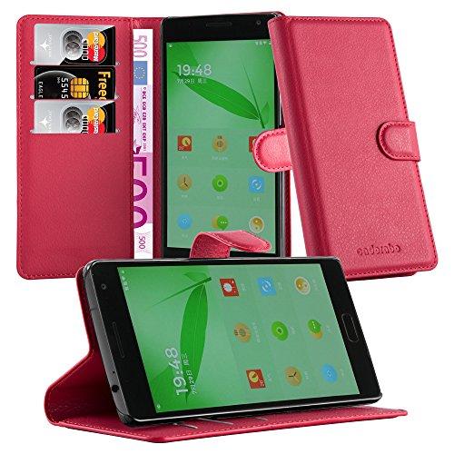 Cadorabo - Funda OnePlus ONE 2 Book Style de Cuero Sintético en Diseño Libro - Etui Case Cover Carcasa Caja Protección (con función de suporte y tarjetero) en ROJO-CARMÍN ROJO-CARMÍN
