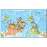 Mcarthurs universal corrective world map paper folded version extra large upside down world wall map political laminated gumiabroncs Image collections