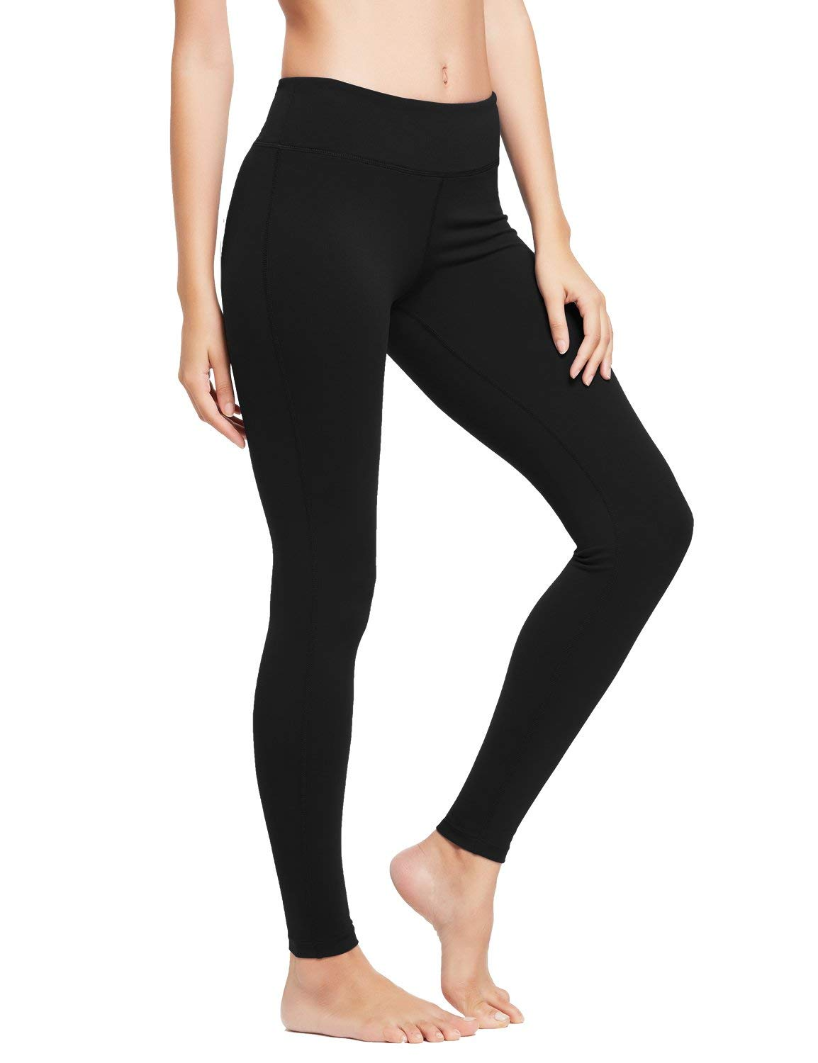 BALEAF Women's Ankle Legging Athletic Yoga Hiking Workout Running Pants Inner Pocket Non See-Through Black Size XL