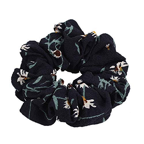 Orcbee  _Summer Floral Hair Scrunchies Bun Ring Elastic Fashion Sports Dance Scrunchie (Navy 1) ()