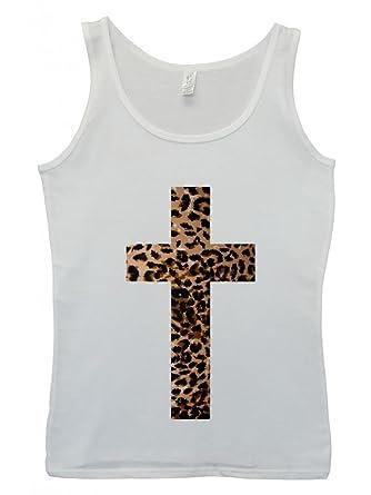 Leopard Cross Religion Cool Funny Hipster Swag White Damen, Fb. Körper Women  Tank Top