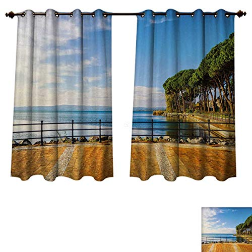 Anzhouqux Italian Blackout Thermal Curtain Panel Terrace Promenade Balcony and Pine Trees in Bolsena Lake Italy Print Patterned Drape for Glass Door Blue and Pale Brown W72 x L84 inch