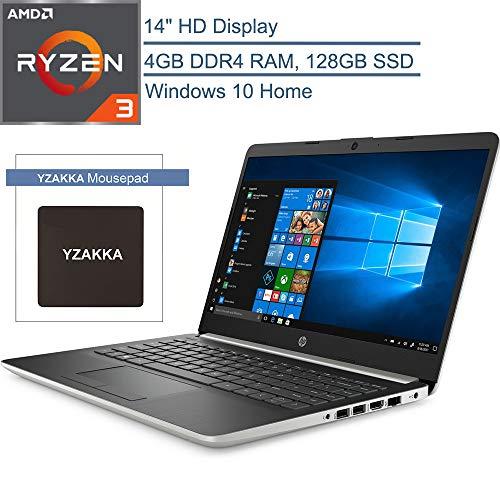 "2020 HP 14 14"" Micro-Edge Laptop Computer, AMD Ryzen 3 3200U up to 3.5GHz (Beats i5-7200U), 4GB DDR4 RAM, 128GB SSD, 802.11AC WiFi, Bluetooth 4.2, HDMI, USB Type-C, Windows 10 Home, YZAKKA Mouse Pad"