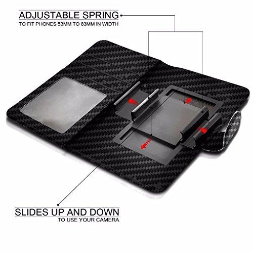Samsung Galaxy Sol 2 4G (5) - Hülle Qualität Clamp Style Protective PU-Leder-Mappen-Kasten-Abdeckung (Red) by i-Tronixs Carbon Black