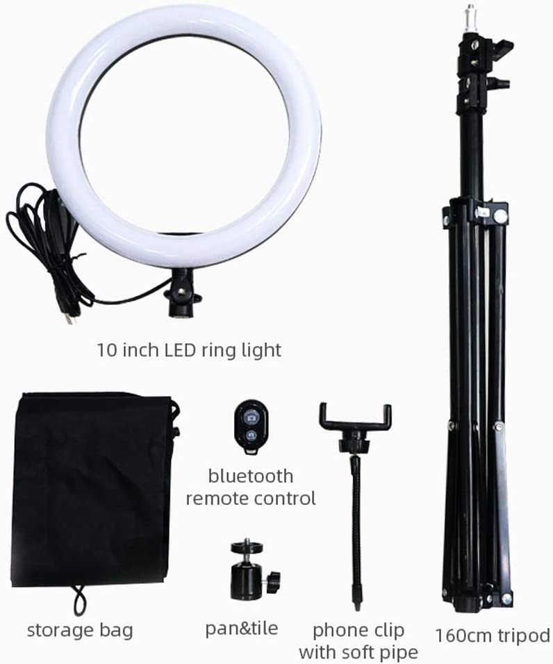 Xgxyklo LED Ring Light with Tripod and Cell Phone Holder for Live Stream//Makeup//YouTube Video,Dimmable Beauty Mini Camera Ringlight