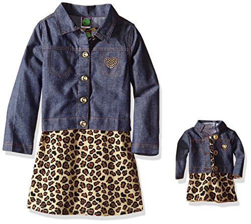 Dollie & Me Little Girls' Knit Leopard Print Skater Dress with Jacket, Denim/Multi, 5 -