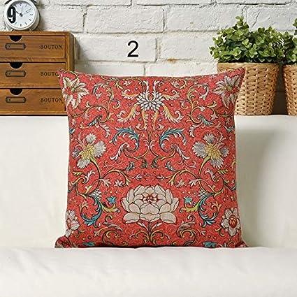 Amazon.com: Retro Red Boho Bohemian Geometry Burlap Fabric ...
