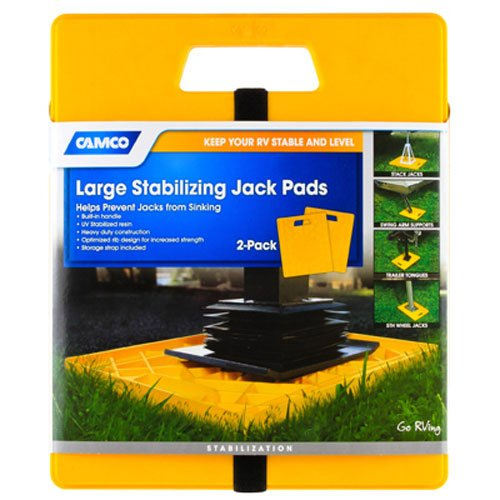 Camco 44541 Large RV Stabilizing Jack Pads Without Handle, Helps Prevent Jacks From Sinking, 14 Inch x 12 Inch Pad - 2 pack