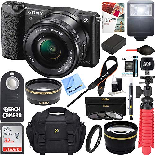 Sony Alpha a5100 HD 1080p Mirrorless Digital Camera Black + 16-50mm Lens Kit + 32GB Accessory Bundle + DSLR Photo Bag + Extra Battery + Wide Angle Lens + 2x Telephoto Lens + Flash + Remote + Tripod