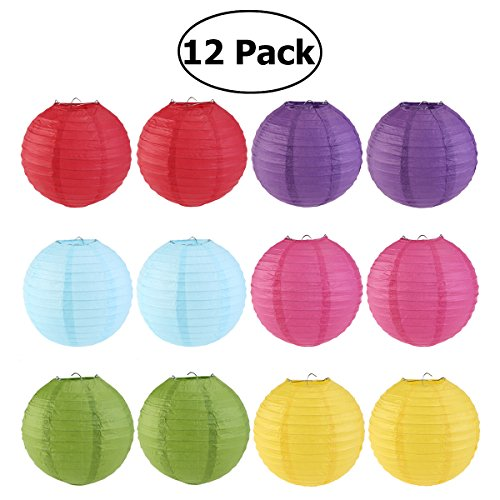 WINOMO 12Pcs Paper Lanterns Hanging Paper Lamps with Wire Ribbing Decorations Assorted Colors 8'' by WINOMO