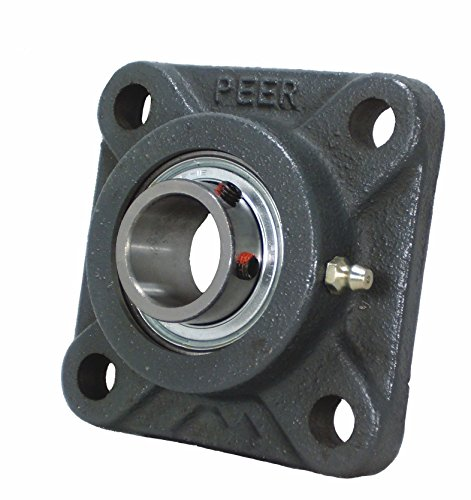 "Peer Bearing PER FHSF202-10 4 Bolt Standard Flange Bearing Unit, Cast Iron, Narrow Inner Ring, Non-Relubricable, Set Screw Locking Collar, Single Lip Seal, 5/8"" Bore, 2-1/8"" Bolt Center"
