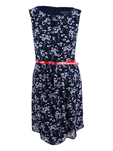 (Connected Women's Printed Belted Chiffon Dress (8, Navy/Red))