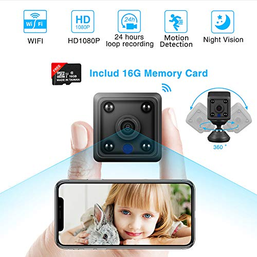 Mini Hidden Spy Camera HD 1080P Wireless Home WiFi Cameras with App(iOS/Android), Night Vision, Motion Detection. Small Indoor Outdoor Remote Video Recorder IP Cameras Nanny Cam for Home/Office/Cars
