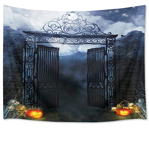 HVEST Halloween Tapestry Night Tapestry Wall Hangings Skulls and Pumpkin by The Gate Wall Blanket for Bedroom Living Room Dorm Decor,80Wx60H inches