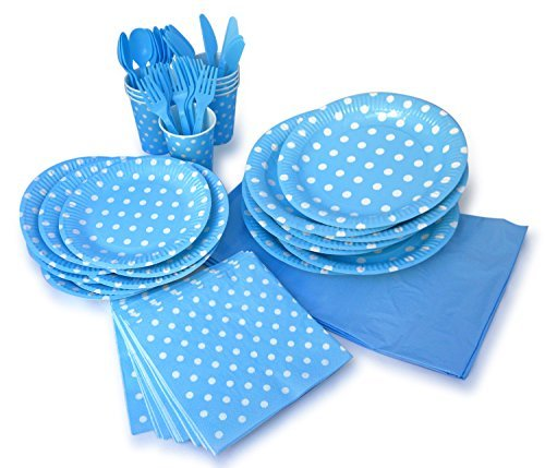 LolliZ Party Pack For 8, Blue & Polka Dots Design