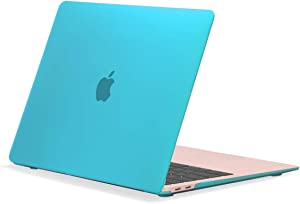 """TOP CASE MacBook Air 13 Inch Case 2020 2019 2018 Release A1932/A2179, Classic Series Rubberized Hard Case Compatible MacBook Air 13"""" with Retina Display fits Touch ID - Aqua Blue"""