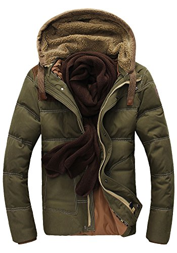 lighter and Short Thicken Down hooded Green Men's Coat Queenshiny Jacket qngdx8f0gw