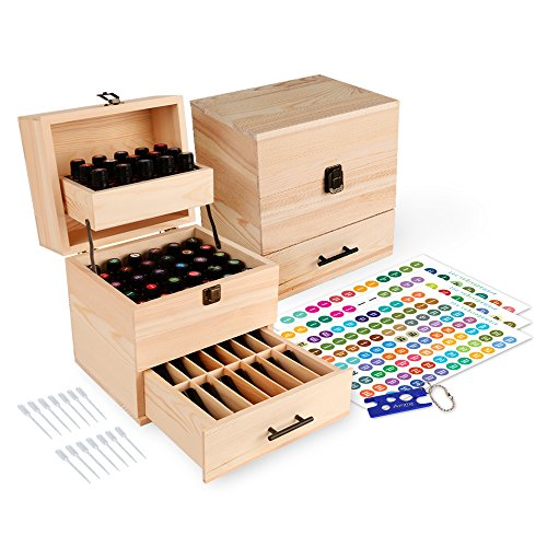 Aroma Designs Wooden Essential Oil Box Multi-Tray Organizer ()