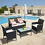 Tangkula 4 PCS Patio Wicker Furniture Set, Outdoor Patio Furniture, Rattan Wicker Sofas Garden Lawn Poolside Cushioned Seat, Conversation Set with Removable Cushions & Coffee Table (Black)