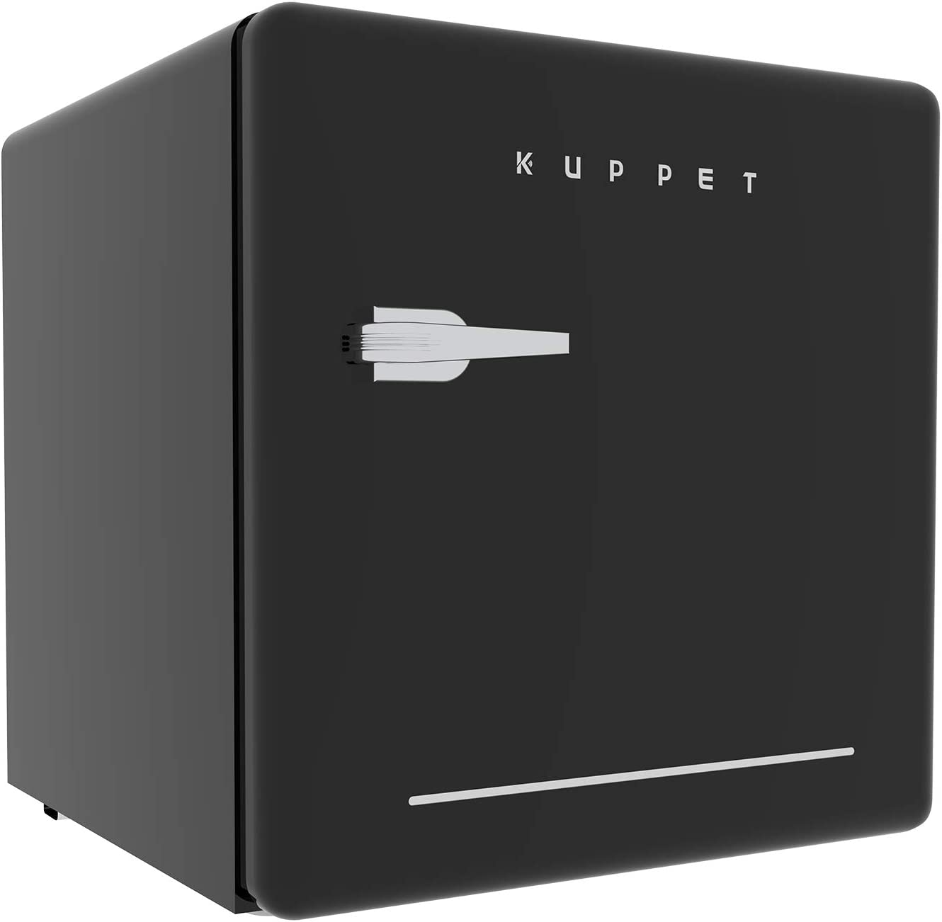 KUPPET Classic Retro Compact Refrigerator Single Door, Mini Fridge with Freezer, Small Drink Chiller for Home,Office,Dorm, Small beauty cosmetics Skin care mask refrigerated for home,1.6 Cu.Ft Black