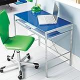Silver Metal Frame Mainstays Glass-Top Desk, Multiple Colors (Blue)