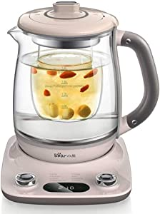 Bar YSH-C18R1 Health- Care Beverage Tea Maker and Kettle, Durable 316 Stainless Steel & Glass Brew Cooker Master,8-in-1 Programmable, 4 Range Temperature Warming Function,1.8L,Pink
