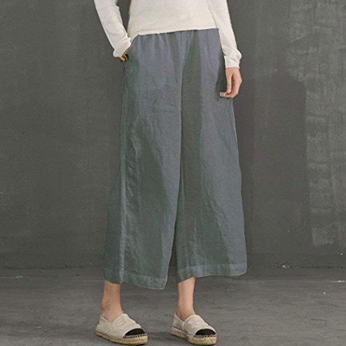 Tempo Palazzo Gamba Fashion Pantaloni Lino Accogliente Glamorous Elastica 7 Eleganti Grau Semplice 8 Larga Haidean Donna Estivi Vita Vintage Sciolto Libero xpqBwaTCC