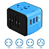 [Upgraded] Universal Travel Adapter International Power Converters European Adapter, 3 USB & Type C Charger, All in One Adapter Wall Charger for US UK AUS EU Asia Phone/Laptop 150+Countries, Blue