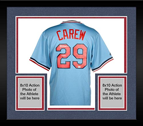 - Framed Rod Carew Minnesota Twins Autographed Majestic Cooperstown Powder Blue Replica Jersey with