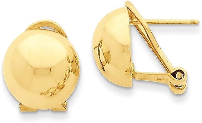 14k White Gold 12mm Half Ball Post Earrings 12mm x 12mm