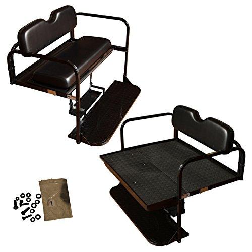 Club Car DS Golf Cart Rear Flip Folding Back Seat Kit,1982-2000.5 - All Factory Colors ( Black Cushions)