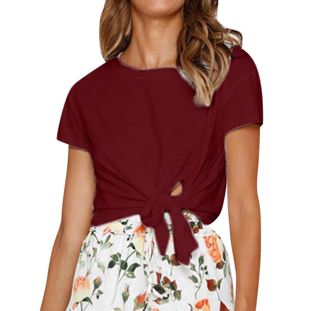 Duseedik Women's Summer Tops Tie Knot T-Shirt Casual Short Sleeves Short Sleeve Solid Lose Tank Tops Tunic Wine Red
