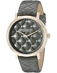 Stuhrling Original Womens 462.01 Audrey Quartz Quilted Swarovski Crystal Grey Watch with Quilted Leather Band