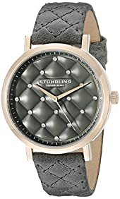 Stuhrling Original Women's 462.01 Audrey Quartz Quilted Swarovski Crystal Grey Watch with Quilted Leather Band