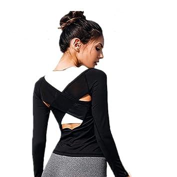 Top deportivo Mujer espalda abierta Yoga Top Camisas Malla ...