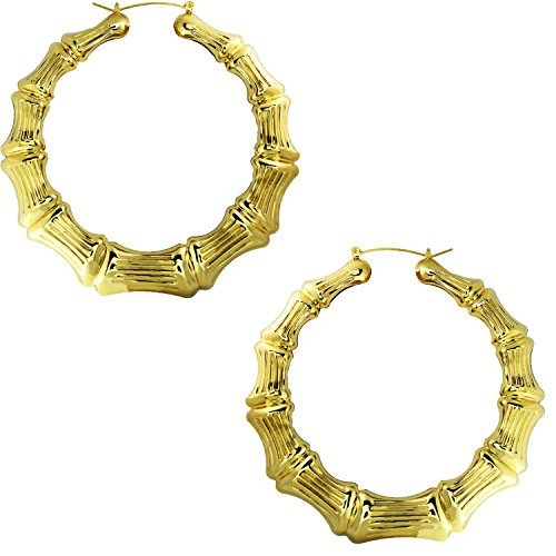 Gold Plated Hollow Casting Round Bamboo Hoop Earrings, 3.5 inches (Bamboo Gold Plated Earrings)