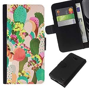KLONGSHOP // Tirón de la caja Cartera de cuero con ranuras para tarjetas - Pintura colorida Art México - LG OPTIMUS L90 //