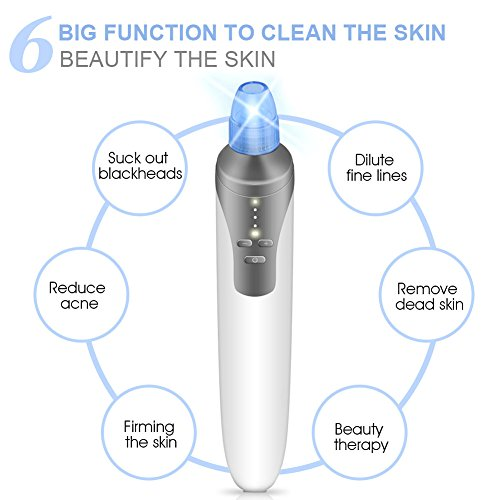 Price comparison product image ARINO Blackhead Remover Tool, Vacuum Blackhead Extraction Tool Comedo Suction Tool Facial Pore Cleaner Acne Extractor Facial Blackhead Acne Remover Rechargeable with Wireless Charger (A)