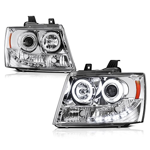 [For 2007-2014 Chevy Avalanche Tahoe Suburban 1500 2500] CCFL Halo Ring Chrome Projector Headlight Headlamp Assembly, Driver & Passenger ()
