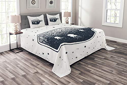 Ambesonne Vintage Nautical Tattoo Bedspread, Octopus in a Bottle Stars Dreamy Illustration, Decorative Quilted 3 Piece Coverlet Set with 2 Pillow Shams, Queen Size, Dark Slate Blue and White