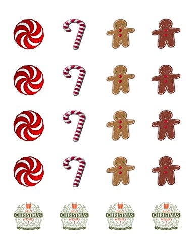 Set of 20 Precut Edible Image Cupcake Topper Featuring a Christmas Candies, 1.5