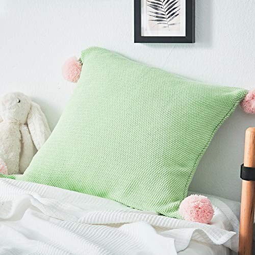 Cozy Decorative Throw Pillow Cover for Couch, living room, Chunky Knit Handmade Contrasting Color Pom Pom Design - Green & Pink (18